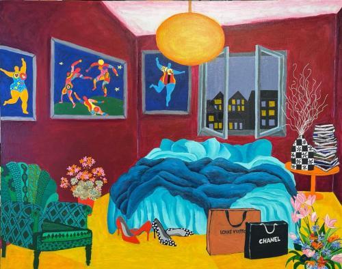 Messy Beds V celebrating Niki de Saint Phalle I Oil & acrylic on deep edged canvas I 76 x 61cm