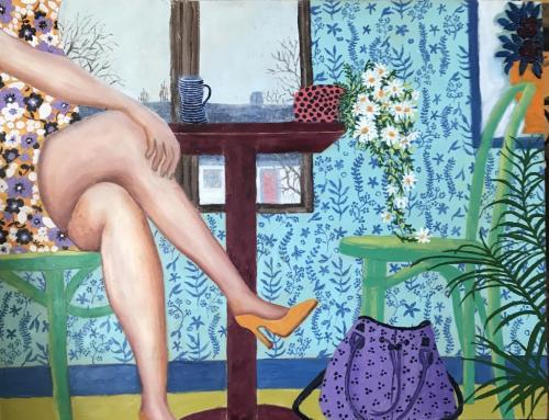 Woman in café   Oil & Acrylic on board, unframed   58x48cm