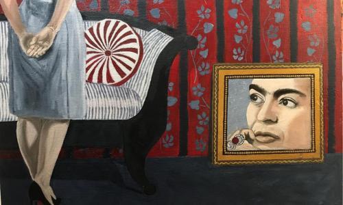 Hanging Frieda | oil & acrylic on board, framed | 92x61cm