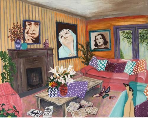 Georgia O'Keeffe, Cindy Sherman, Edith Piaf   Oil & Acrylic on deep edge canvas   76x61cm
