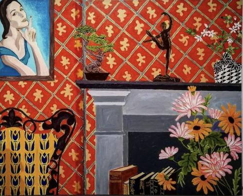 Interior with Woman I Oil & acrylic on deep edged canvas I 76 x 61cm