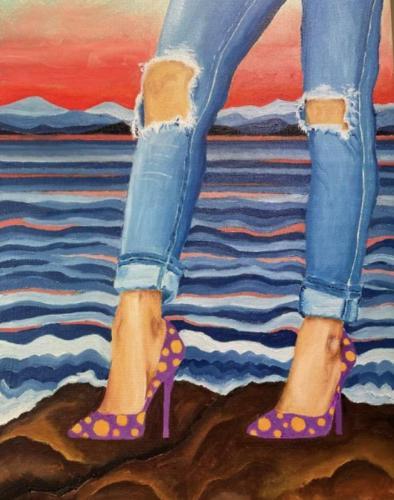 Seascape I I Oil  Acrylic on deep edged canvas I 30 x 40 cm