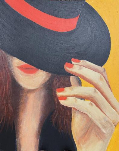 Woman in Hat II I Oil & acrylic on canvas board framed I 40 x 50cm