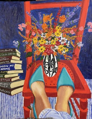 Red Chair I Oil & acrylic on canvas board framed  I 40 x 50cm