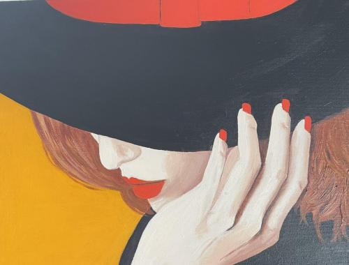 Woman in Hat III I Oil & acrylic on deep edged canvas I 40 x 30cm i SOLD