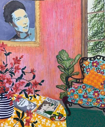 Simone de Beauvoir II I Oil & acrylic on board framed I 40 x 50cm Commission