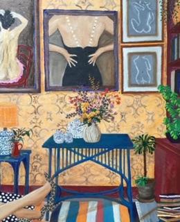 Interior with Black Dress   oil & acrylic on deep edge canvas   61x76cm