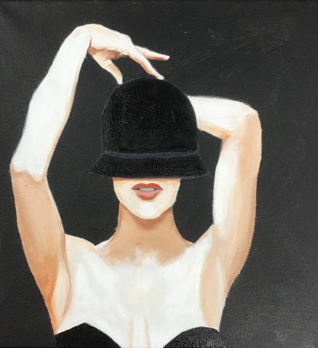 Woman with hat   Oil & Acrylic on narrow edge canvas   30x30cm