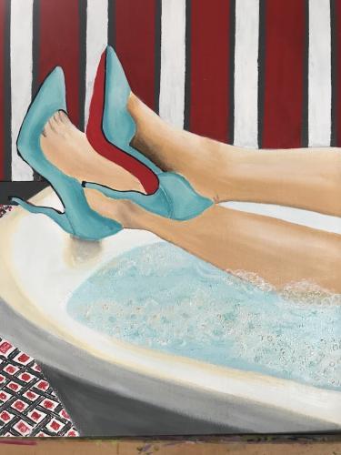 Relaxing | Oil &Acrylic on deep edge Canvas 30x50cm