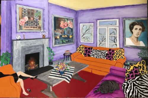 Interior celebrating Vanessa Bell oil & acrylic on board, framed | 92x61cm | SOLD