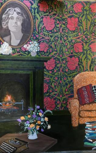 Interior celebrating Vita Sackville-West | oil & acrylic on board, framed | 61x92cm | SOLD