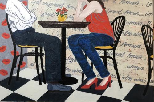 French café | oil & acrylic on board, framed | 92x61cm