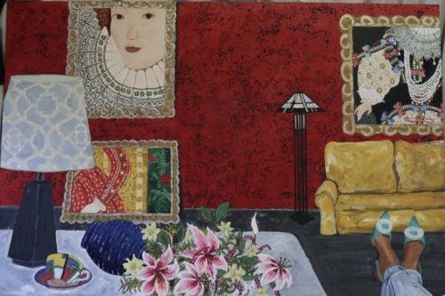 Interior celebrating Queen Elizabeth 1 | oil & acrylic on board, framed | 92x61cm