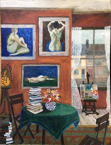 Interior with three nudes |oil & acrylic on board, framed | 58x75cm | SOLD