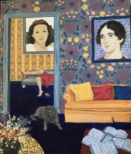 Interior Celebrating Hedy Lamar and Ada Lovelace | Oil & Acrylic on deep edged canvas | 60 x 50cm